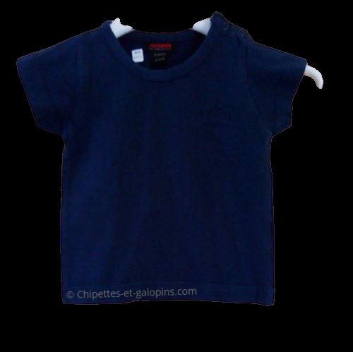 vetements bébés d'occasion. Vetements enfants pas chers. T-shirt à manches courtes bleu marine pour bébé garçon de 6 mois