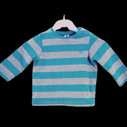 vetements occasion bébé. Vetements bébé garçon pas chers. T-shirt à manches longues Orchestra à petit prix pour bébé garçon de 9 mois. Rayé gris et bleu turquoise