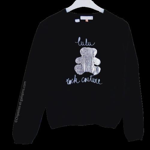 vetement occasion enfant. Vetements enfants pas chers. Pull noir à sequins argentés Lulu Castagnette à petit prix pour fille 12 ans