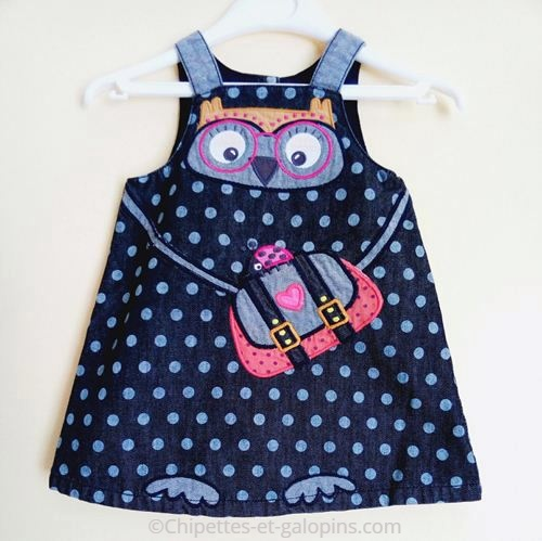 vetements occasion bébé. vetements d'occasion pour bébés et enfants. Robe en jean pas chère DPam... 9 mois motifs hibou