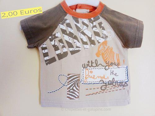 vêtements bébé d'occasion. T-shirt safari à manches courtes 3 mois