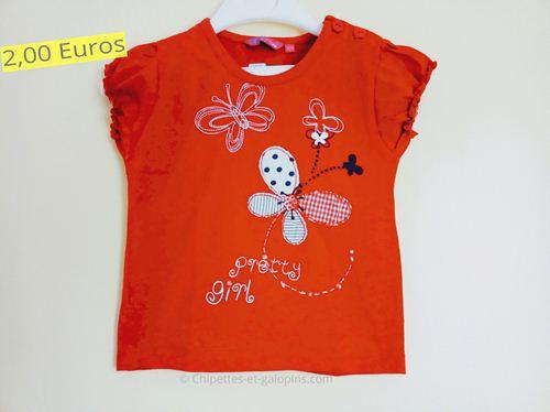 vetements bébé d'occasion. T-shirt papillons rouge pas cher à manches courtes 18 mois