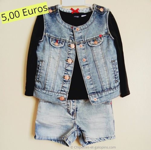 vetements occasion enfants . Ensemble short et veste en jean Orchestra fille 3 ans