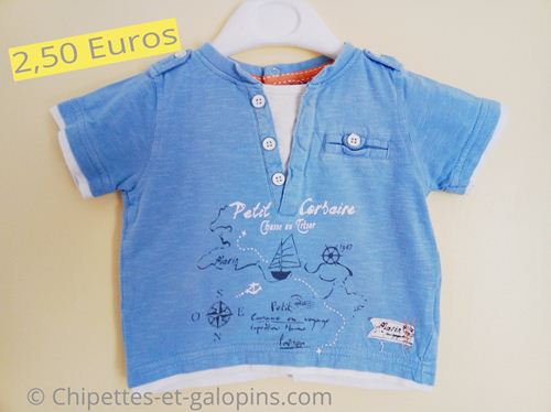 vêtements bébé d'occasion. T-shirt manches courtes effet 2 en1 3 mois