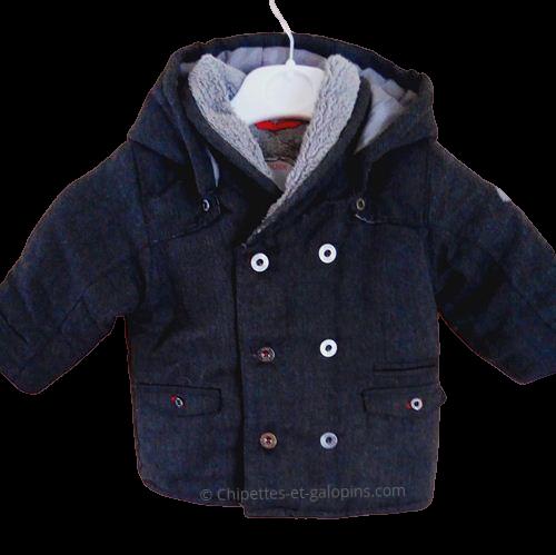 vetement occasion bébé. vetements pas chers pour bébé. Manteau bébé occasion. Manteau pas cher Obaïbi épais avec capuche. de couleur grise bébé 12 mois.