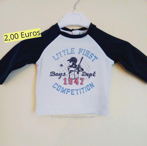 Vêtements bébé occasion. T-shirt manches longues pas cher 3 mois