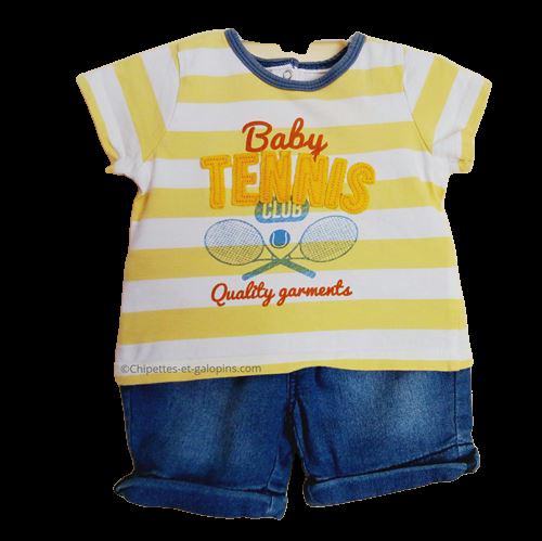 vetements occasion bébé. Vetements bébé garçon pas chers. Ensemble short et T-shirt pour bébé garçon 6 mois à petit prix