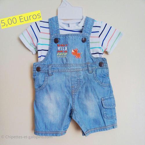 vetements bébé d'occasion. Salopettes-short+T-shirt bébé garçon 3 mois