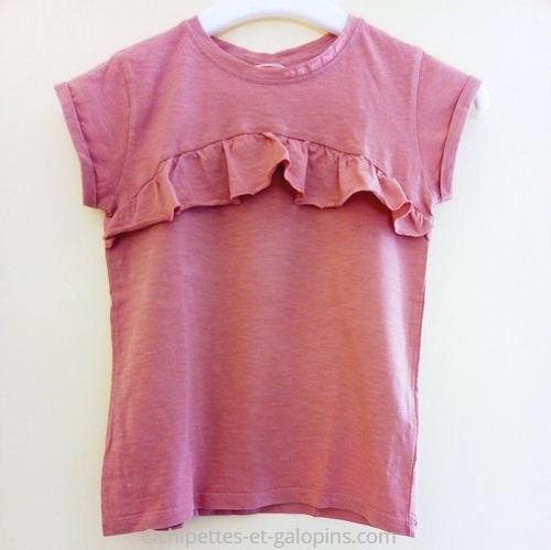 vetements enfants occasion. T-shirt fille pas cher. T-shirt volanté à manches courtes de couleur brique de chez Tape à l'œil pour fille 8 ans
