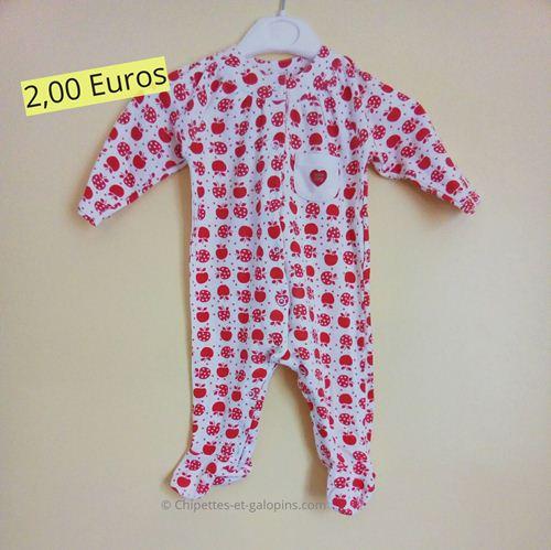 pyjama bébé fille d'occasion. pyjama sucre d'orge rouge et blanc fille 6 mois
