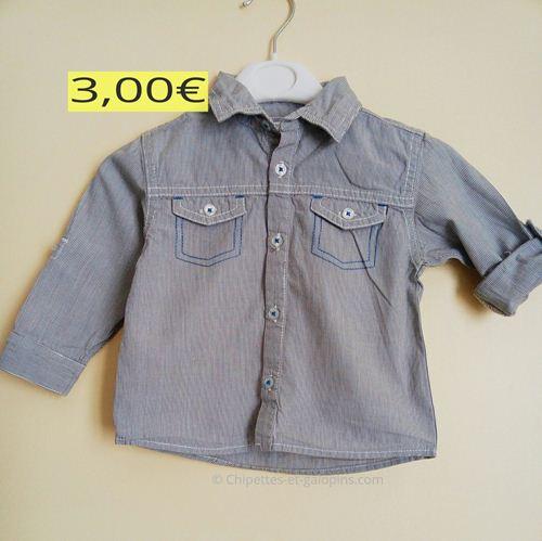 vetements bébé occasion. Chemise rayée 18 mois à petit prix