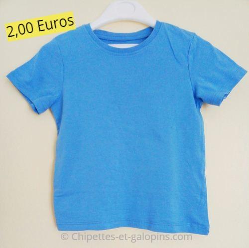 Vêtements bébé d'occasion. T-shirt manches courtes uni bleu H&M 2/4 ans