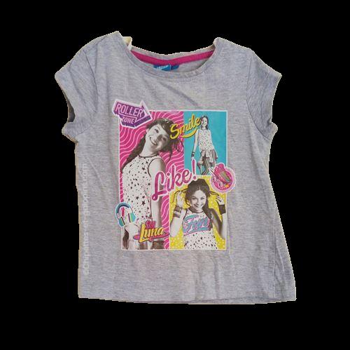 vetement occasion enfant. Vetements enfants pas chers. T-shirt à manches courtes de couleur grise avec impression Soy Luna pour fille 6 ans. Petit prix