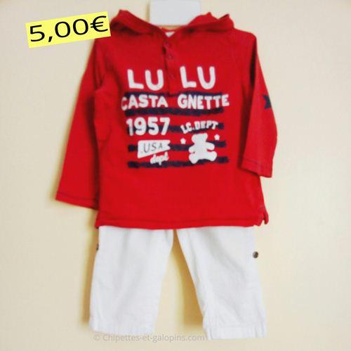 vetements occasion bébé. Ensemble pantalon Lulu Castagnette pour garçon 18 mois, composé d'un pantalon en toile blanc et d'un haut à manches longues rouge