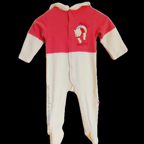 vetement occasion enfant. Vetements enfants pas chers. Pyjama winnie l'ourson jaune et rouge 24 mois à petit prix