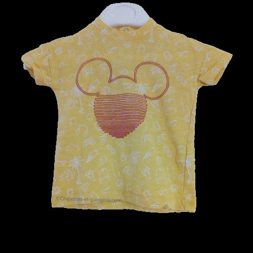 vetements occasion bébé. Vetements bébé pas chers. T-shirt à manches courtes jaune avec motifs Mickey de chez Orchestra pour bébé garçon de 6 mois à petit prix