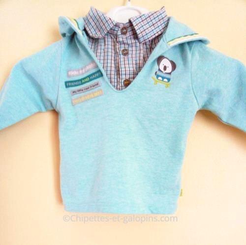 vetement occasion bébé. Vêtements d'occasion pour bébé. T-shirt 2 en 1 Obaïbi bébé garçon 3 mois pas cher