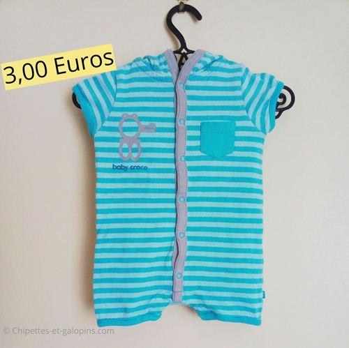 Vêtements d'occasion pour bébé garçon. Barboteuse Obaïbi 3 mois