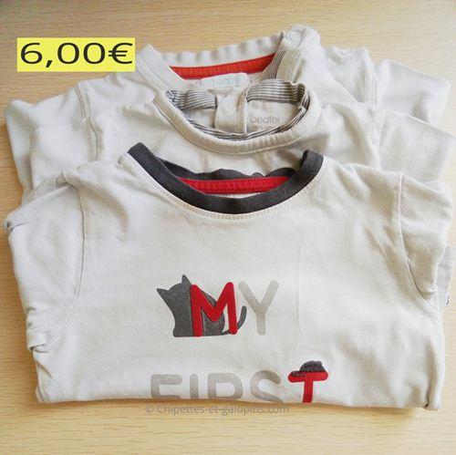 vetements bébé occasion. Lot de 3 T-shirts manches longues Obaïbi pas chers. couleurs blanc et gris avec motifs