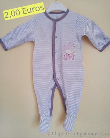 v^tements bébé d'occasion. Pyjama léger bébéfille 9 mois pas cher