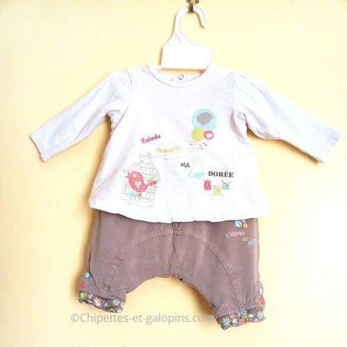 vetements bébé d'occasion. Ensemble pantalon Orchestra pas cher pour bébé fille 3 mois
