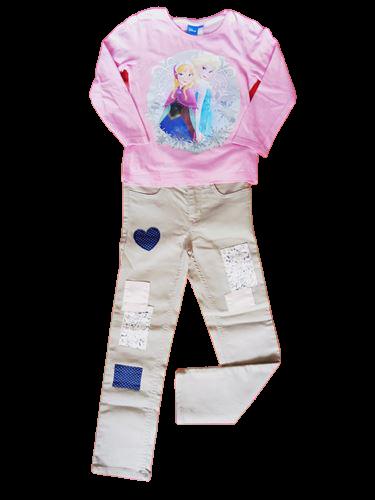 vetements occasion enfant. vetement fille pas cher. ensemble pantalon H&M et T-shirt manches longues reine des neiges fille 5 ans