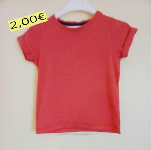 vetements enfants occasion. T-shirt manches courtes pas cher de couleur rouge en 3 ans