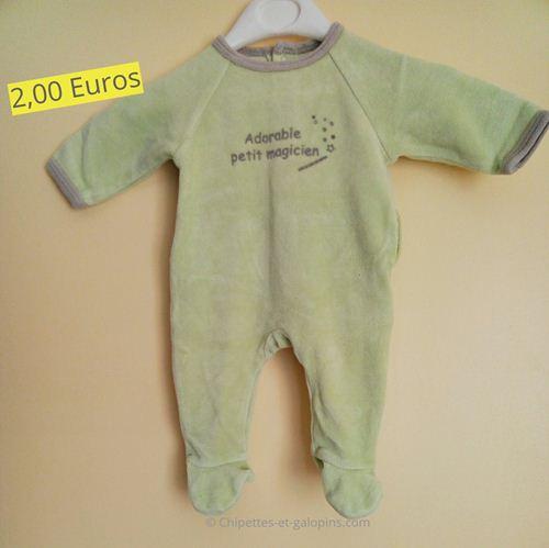 vêtements d'occasion pour bébés. Pyjama velours Vert Baudet pas chers