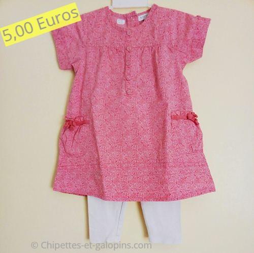 vêtements bébé d'occasion. Robe manches courte et legging pas chers bébé fille 2 ans