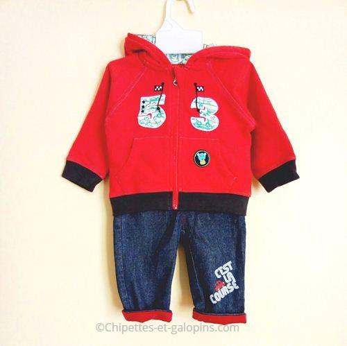 vetements bébé occasion pas cher. Jean et veste de sport pas cher pour bébé garçon 6 mois