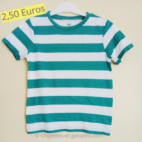 vêtements enfants d'occasion. T-shirt rayé 6/8 ans pas cher