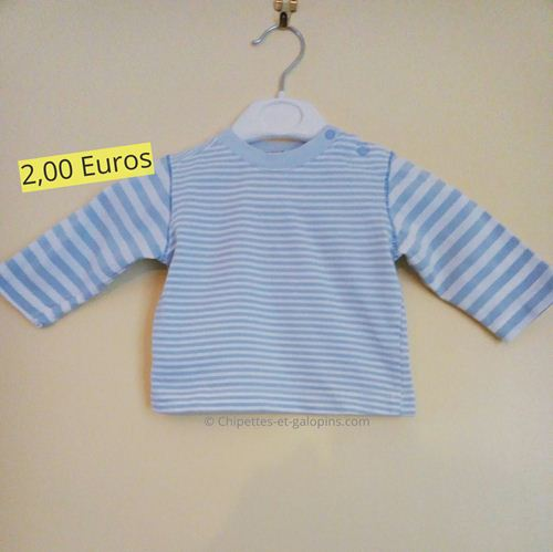 vetement occasion bébé. T-shirt à manches longues rayé bleu ciel pas cher pour bébé 3 mois