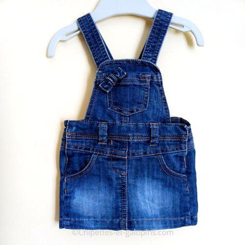 vetements bébé occasion. Robe-salopette en jean pas chère pour bébé fille de 6 mois Tape à l'Oeil