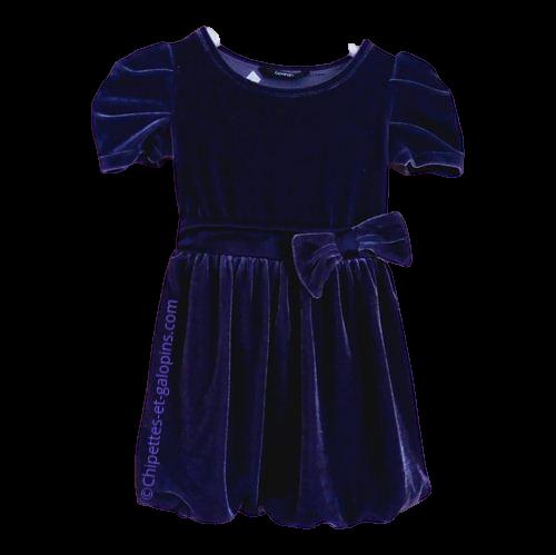 vetements enfant occasion. Vetements fille pas chers. Robe en velours violet à manches courtes pour fille 4 ans