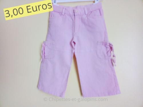 Vêtements enfants d'occasion. Pantalon en toile rose fille 3 ans de chez Tape à l'Oeil