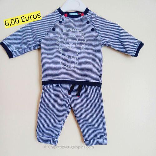 vêtements bébé d'occasion. Ensemble molleton pas cher bébé garçon 3 mois Obaïbi