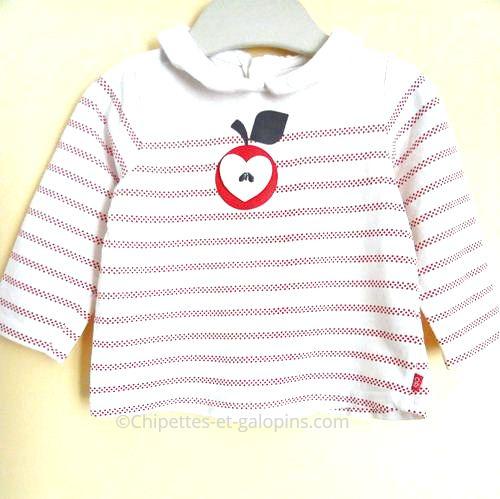 vetements bébé fille occasion. T-shirt manches longues pas cher Obaïbi bébé fille 6 mois