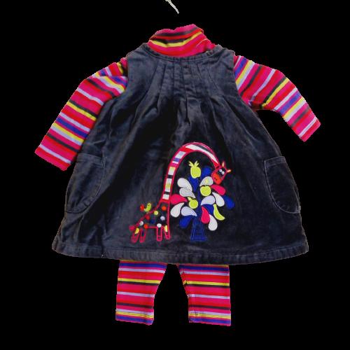 vêtements occasion bébé fille. Ensemble 3 pièces robe velours DPam... 3mois
