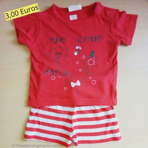 vetements bébé d'occasion. Short+T-shirt Kiabi garçon 3 mois