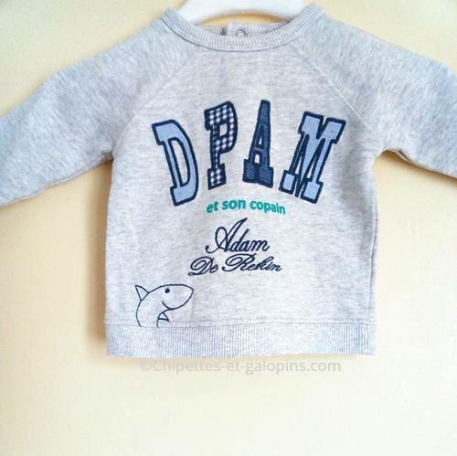 vetements d'occasion pour enfants. Vetements bébé d'occasion. Sweat-shirt gris DPAM pour bébé garçon de 3 mois à petit prix.