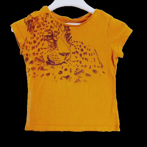 vetement occasion enfant. Vetements enfants pas chers. T-shirt à manches courtes Orchestra motif léopard à paillettes de couleur jaune 5 ans à petit prix