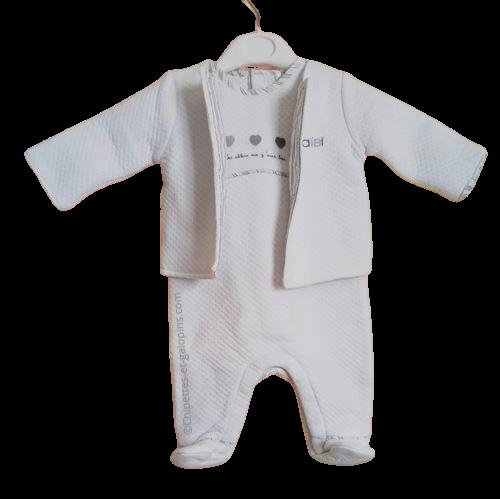 vetements occasion bébé. Vetements bébé fille pas chers. Ensemble salopette Obaïbi de couleur blanche à petit prix pour bébé fille 3 mois