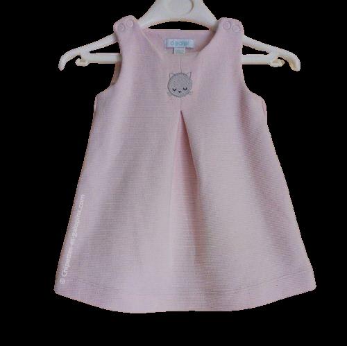 vetements occasion bébé . Vetements bébé fille pas chers. Robe hiver sans manches Obaïbi 1 an de couleur rose clair à petit prix