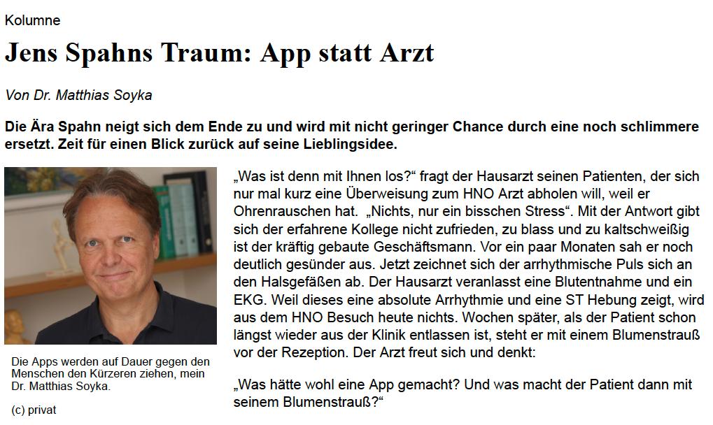 Jens Spahns Traum: App statt Arzt