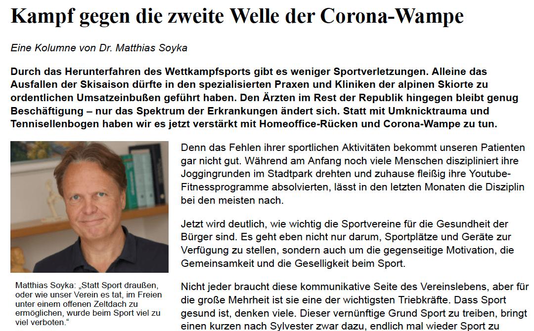 Kampf gegen die zweite Welle der Corona-Wampe