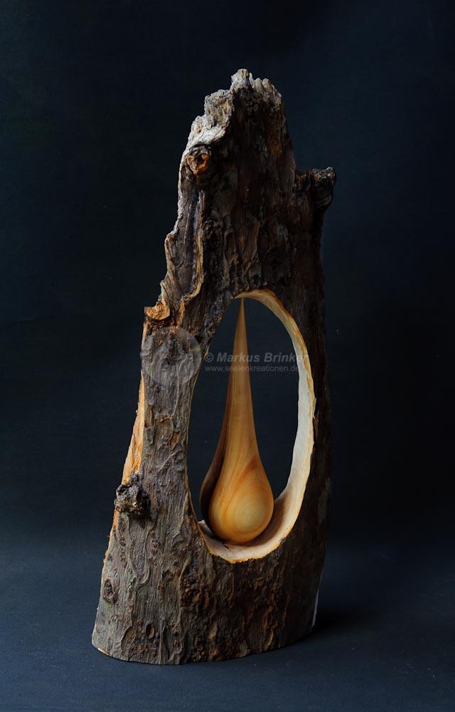Apfeltropfen, Apfelholz, teils geölt und gewachst,  57 x 23 x 12 cm