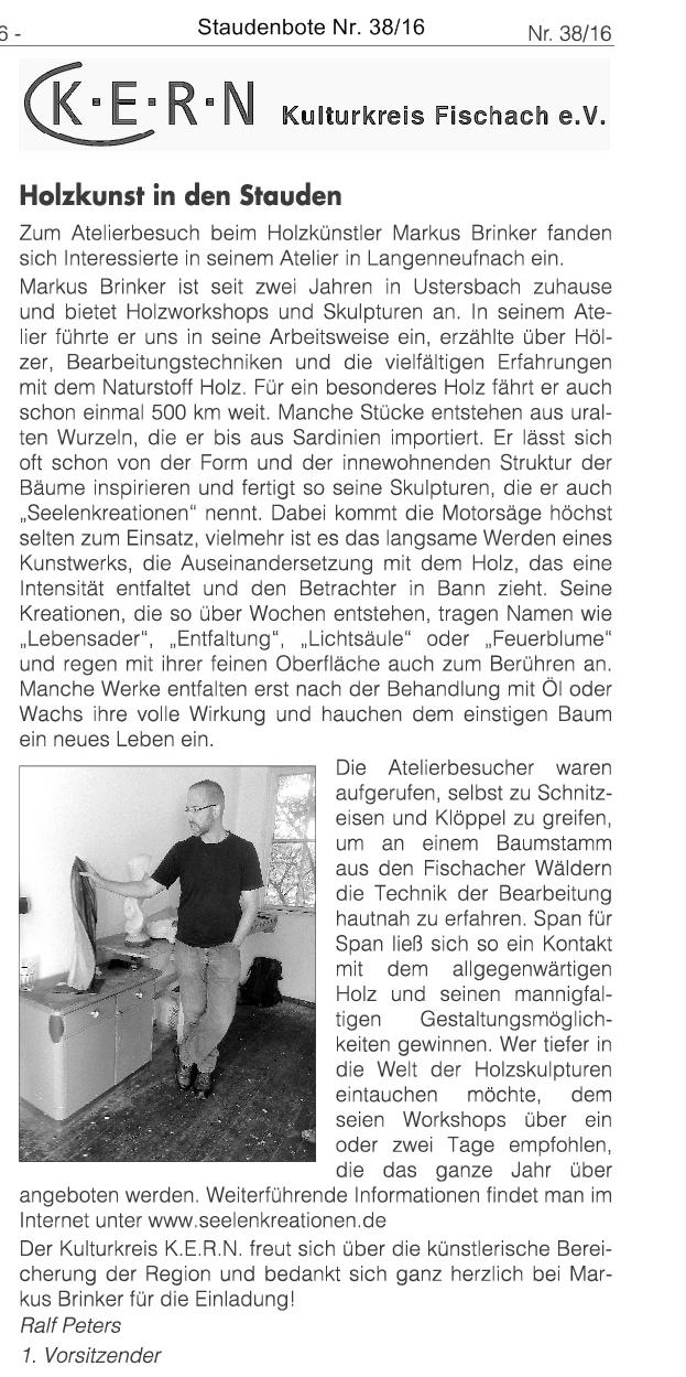 Pressebericht über den Atelier-Besuch des Kulturkreises K.E.R.N aus Fischach