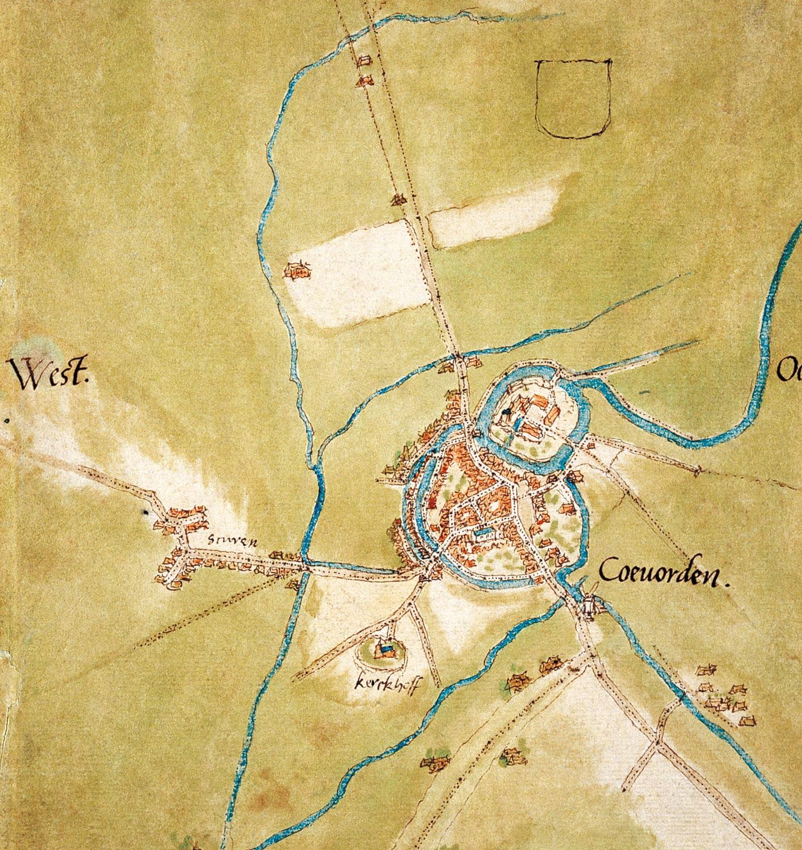 kaart Coevorden omstreeks 1550, getekend door Van Deventer