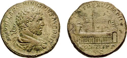 Sestercio de Caracalla. Antigua moeda  romana de prata. Ano 212 a.C
