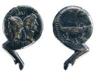 Moeda romana do século I a.C. Aparecen Agripa  e Cesar Augusto.